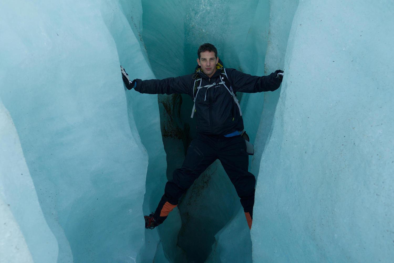 Pura Aventura co-founder Thomas Power inside the Exploradores Glacier