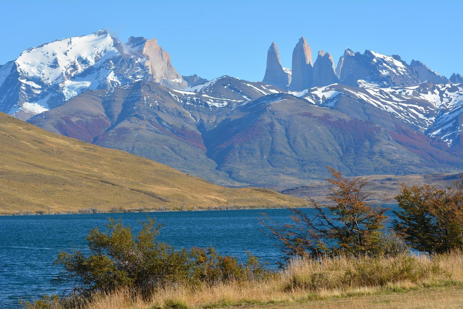 Views across Laguna Azul in Torres del Paine
