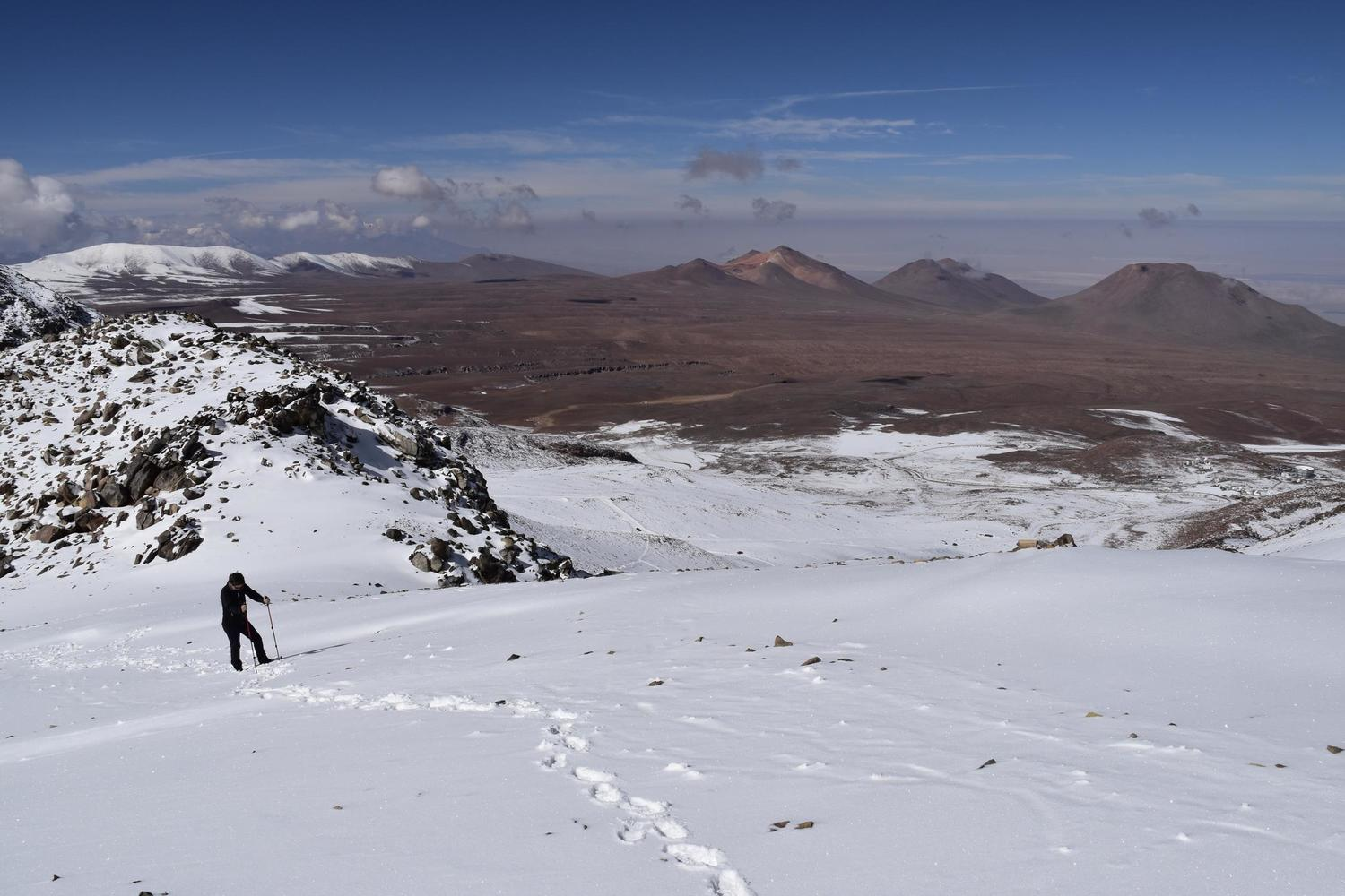 Climbing up to the fresh snow on Chile's Toco volcano