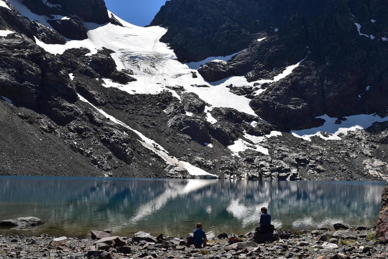 Taking a break at the lagoon on the Cerro Castillo hike