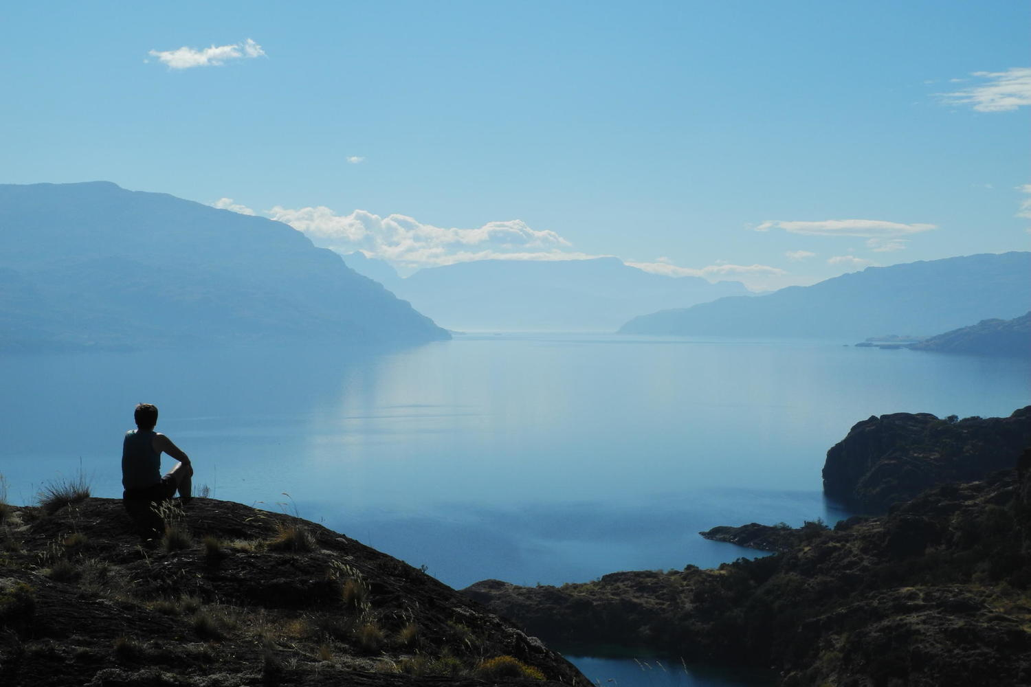 Contemplating the shimmering surface of Lago Cochrane