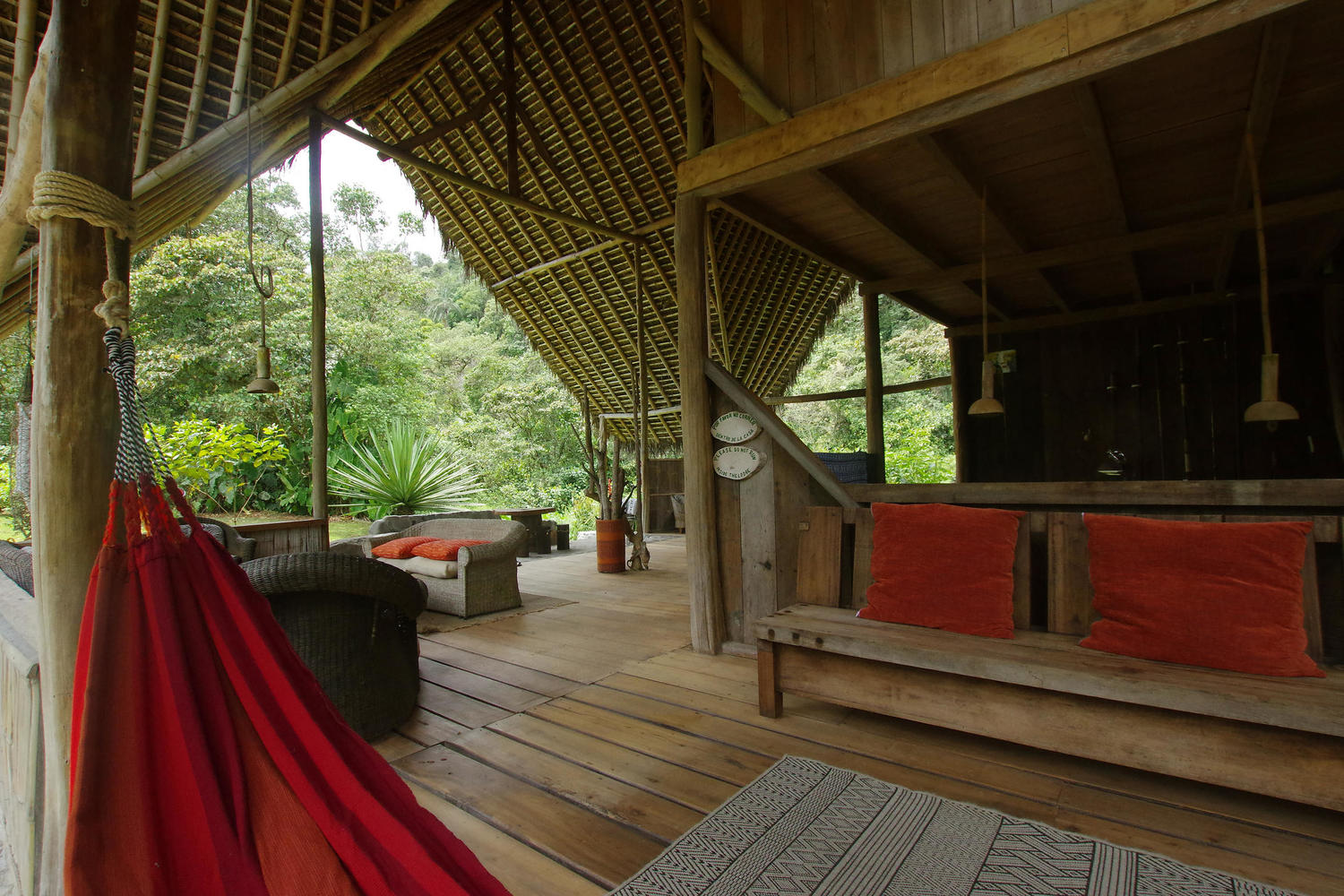 open lounge area of El Monte lodge in Mindo cloudforest