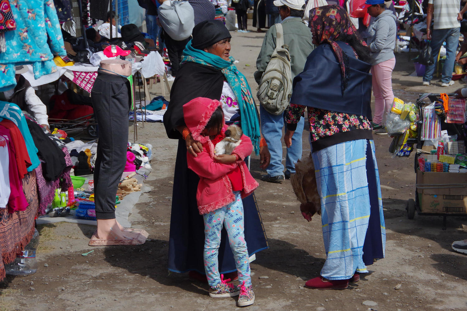 Locals catching up at the Otavalo Market