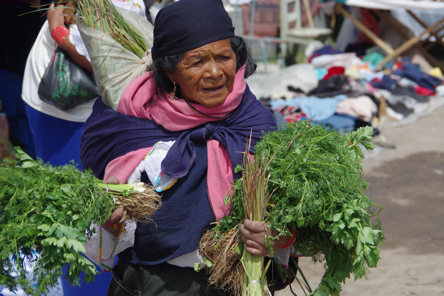 Local selling vegetables at Otavalo