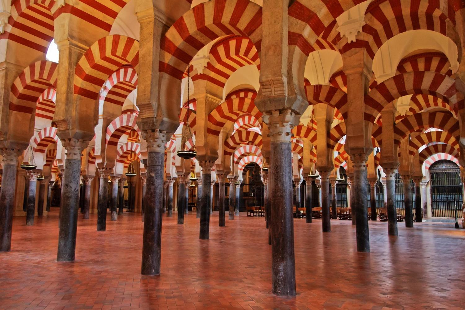 The sea of arches inside Cordoba's great mosque