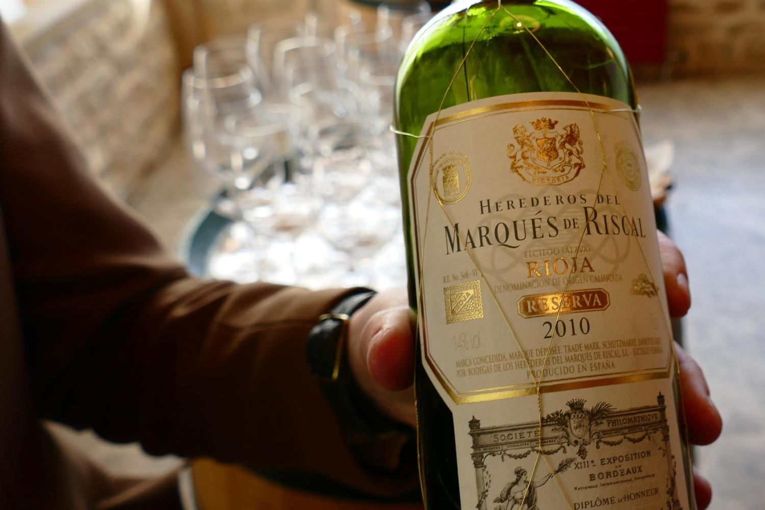 Bottle of Marques de Riscal rioja