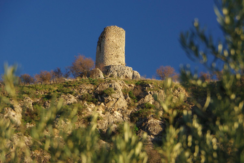Hilltop Moorish watchtower overlooking olive groves near Priego de Còrdoba