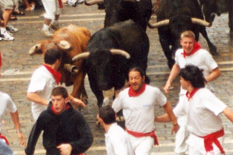 Xabi running with the bulls