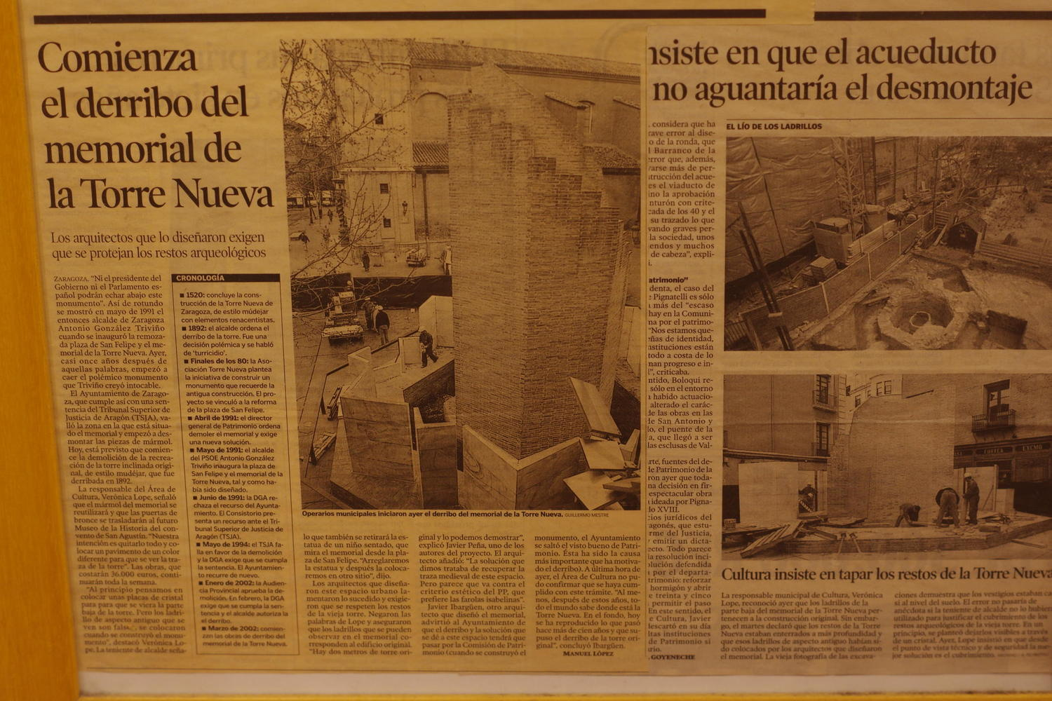 Newspaper reports detailing the removal of the monument in 2002