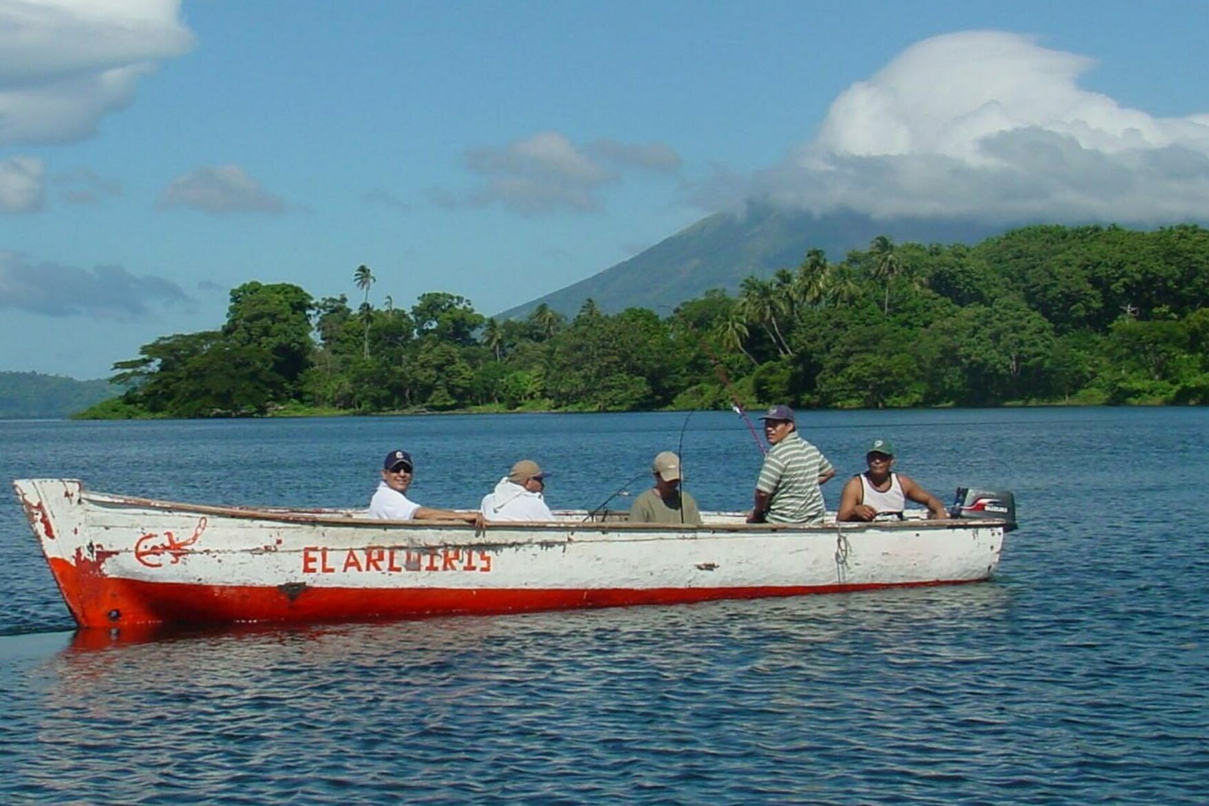 Nicaragua ometepe men in small fishing boat