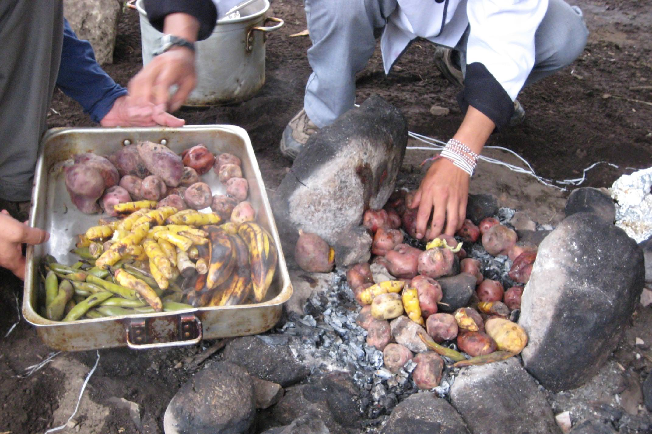 Peru andes chef cooking pachamama close up of hands