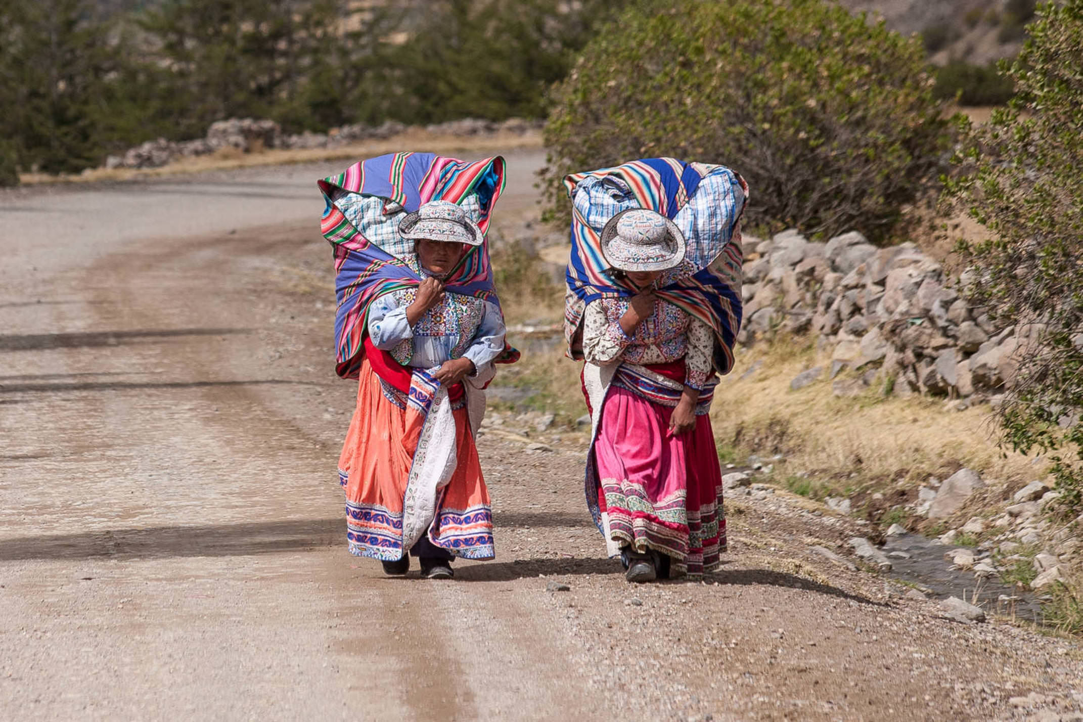 Peru colca canyon not identified women in typical clothes caring souvenirs for sale in her bag circa 2013 in chivay peru
