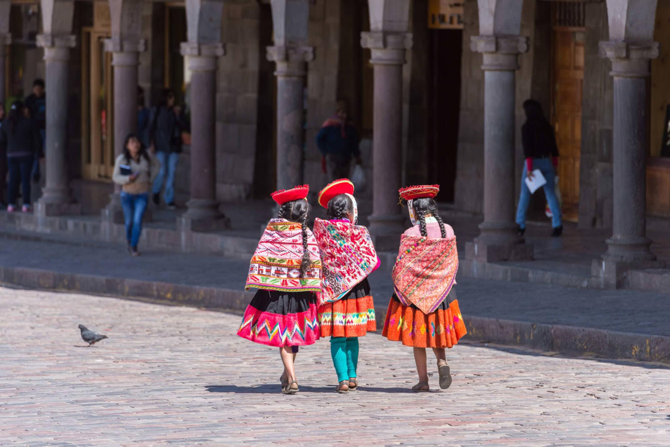 Peru cusco peruvians waer a traditional cloth on parade plaza de armas cusco peru