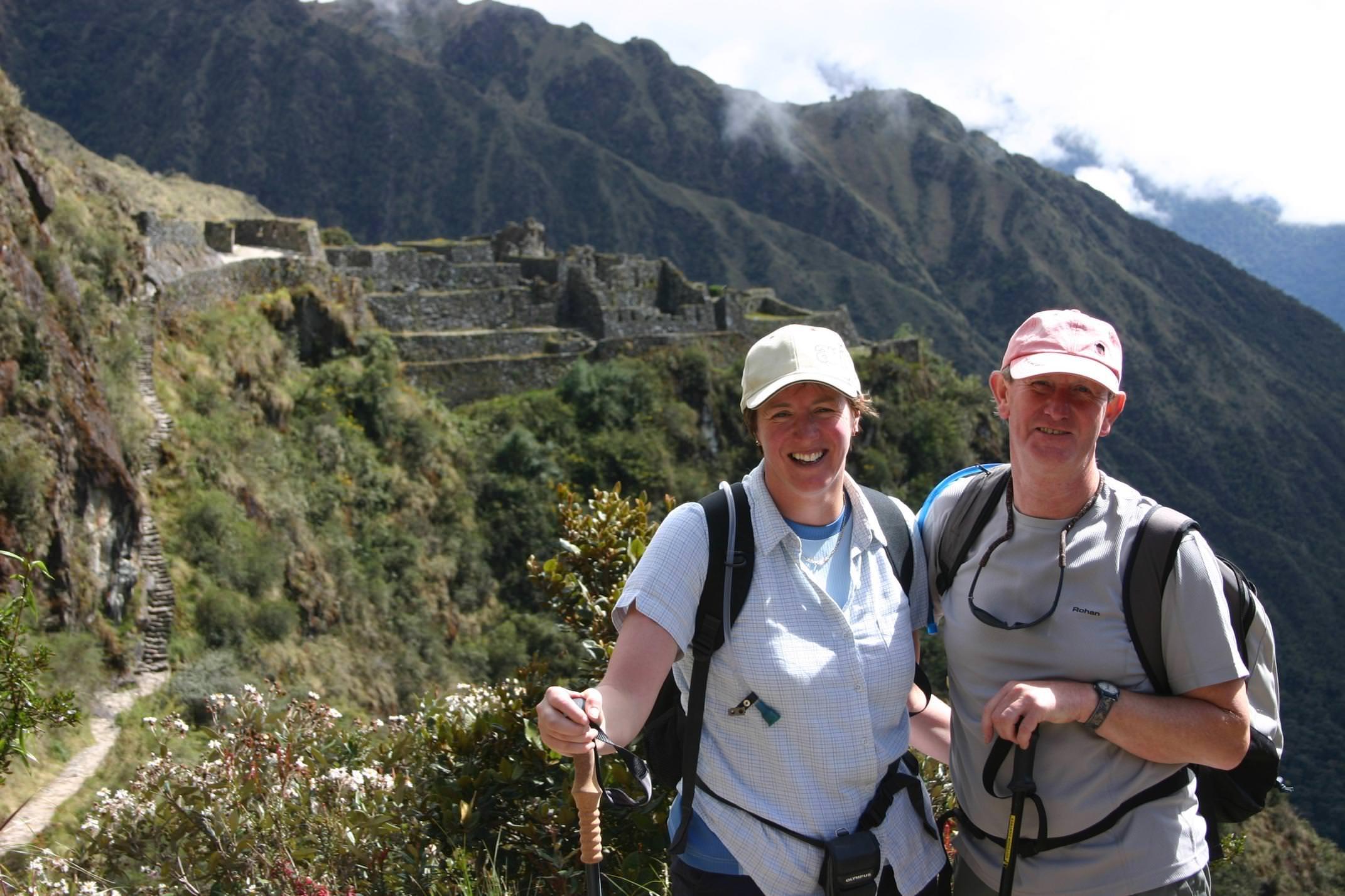 Peru inca trail to machu picchu smiling couple
