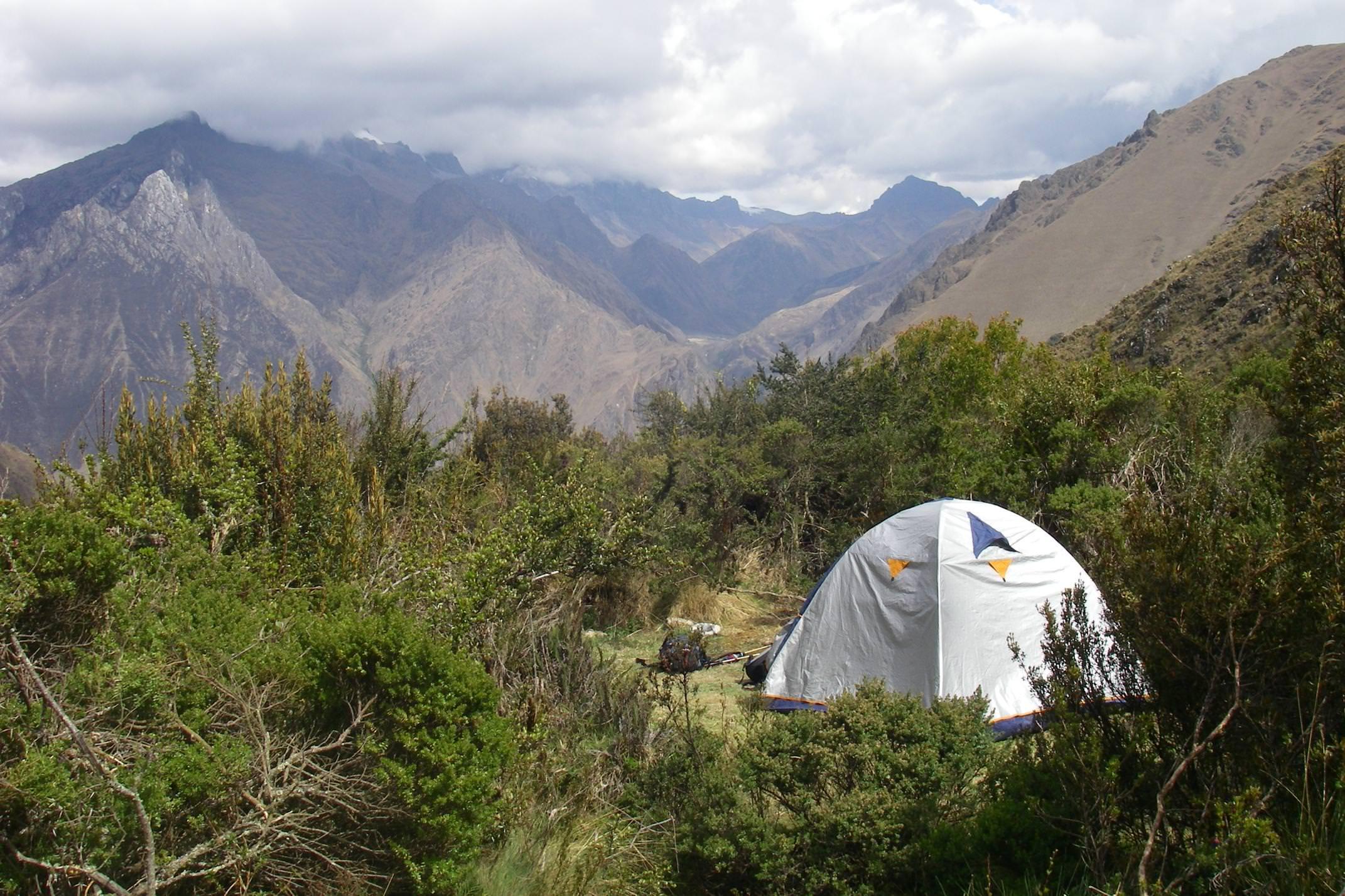 Peru inca trail to machu picchu solo tent small clearing