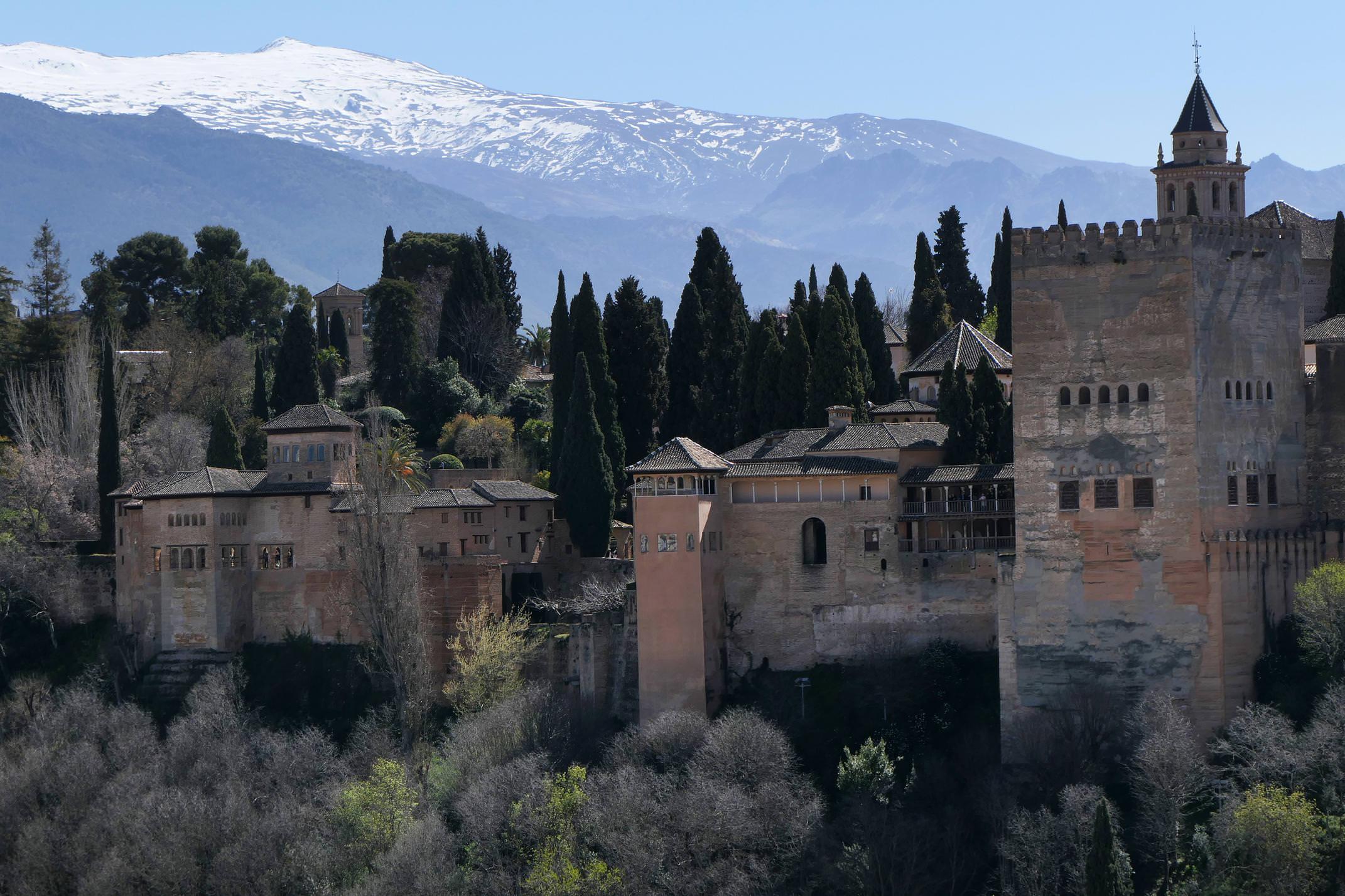 Spain andalucia granada alhambra sierra nevada from albaycin c diego
