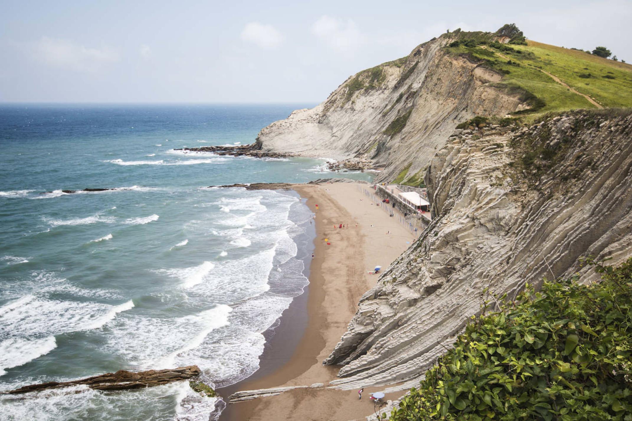 Spain basque country beach in coast basque near san telmo hermitage zumaia