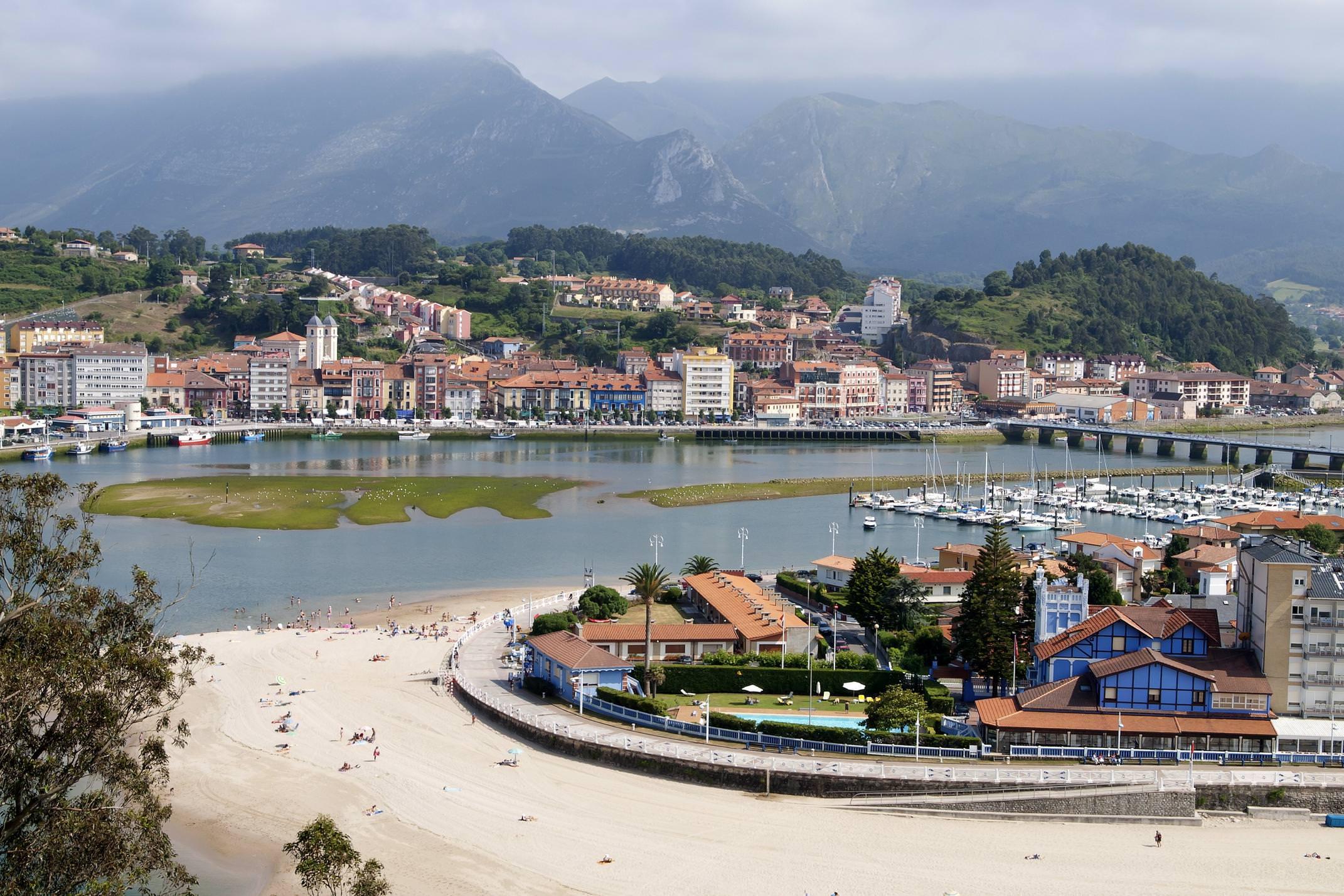 Spain picos de europa ribadesella town and beach
