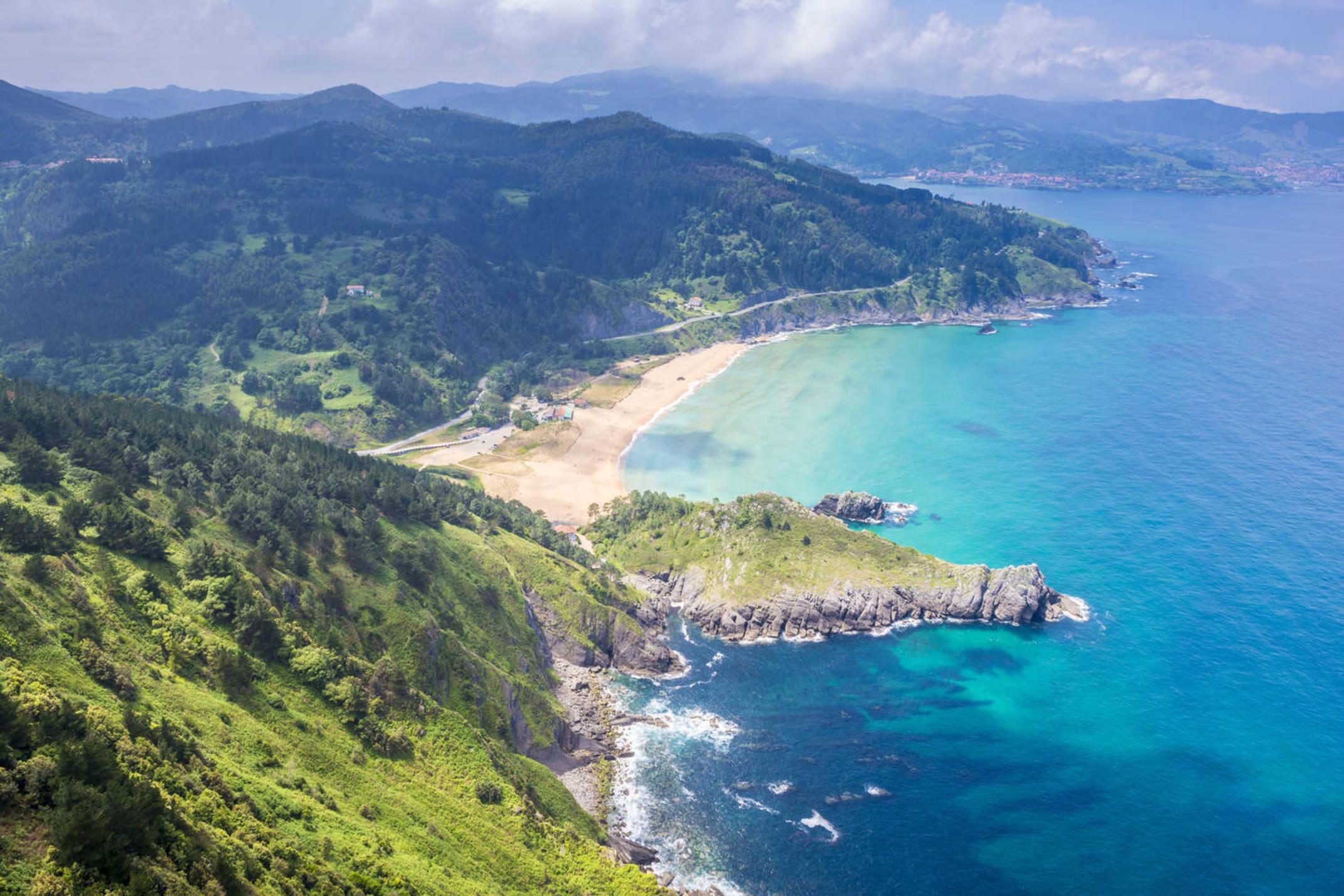 Spain viszcaya panoramic view of urdaibai and cantabrian coast