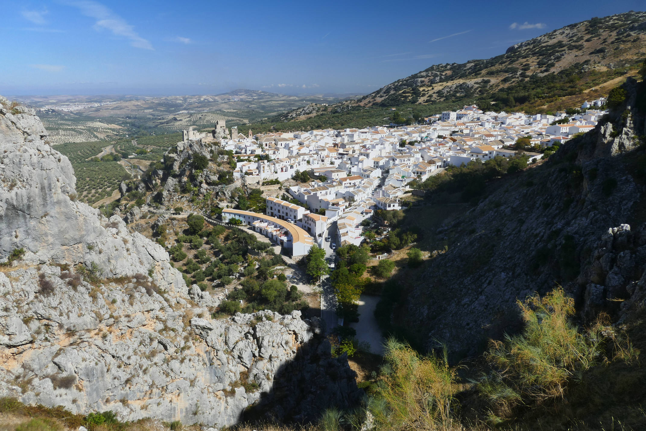 Looking down on the white village of Zuheros as you climb the drover's tracks