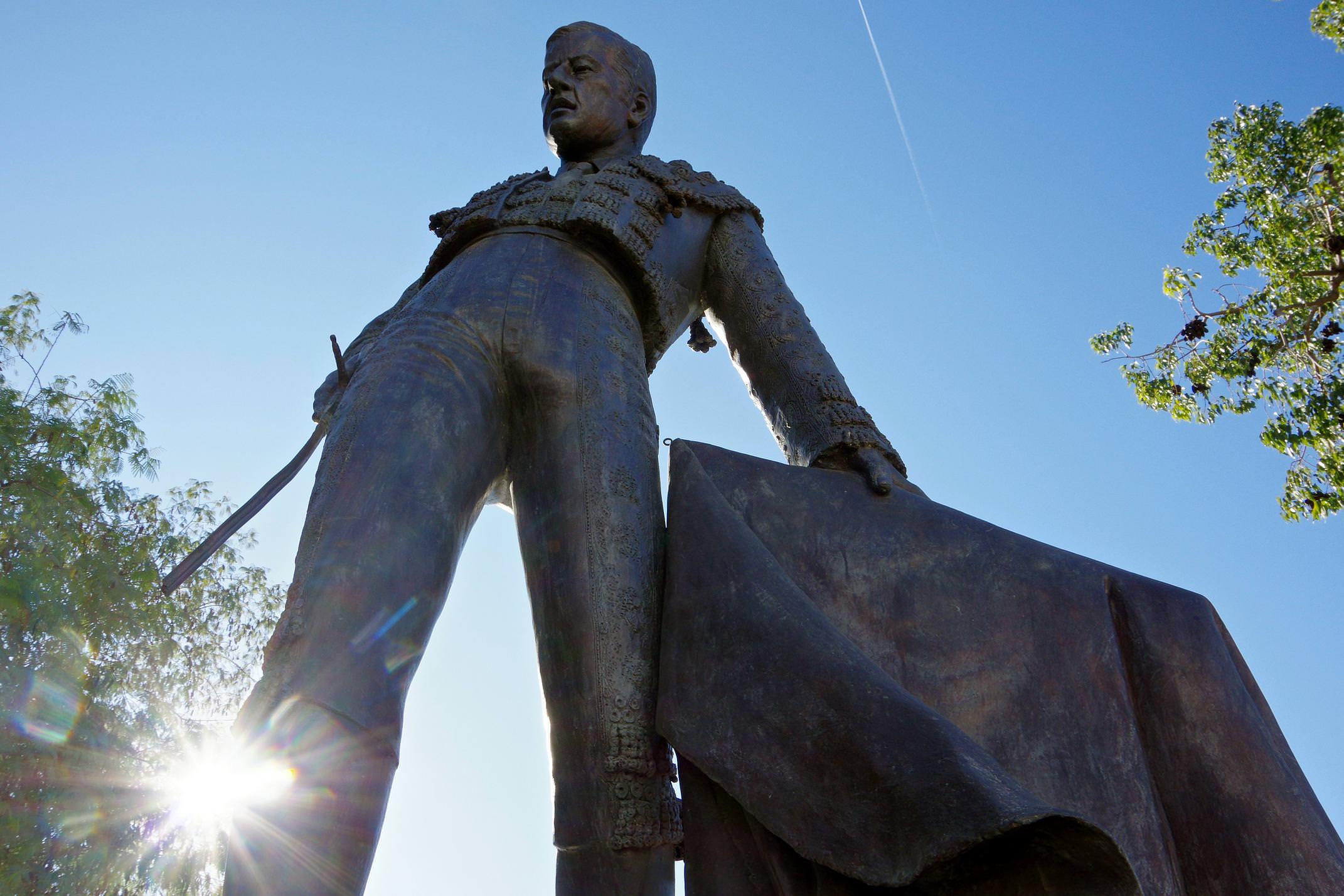 Matador statue outside Seville's plaza de toros